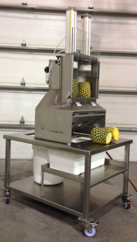 Pineapple Spear Machine with Peel Separation Cart
