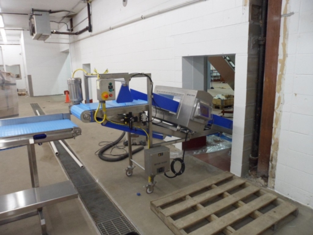 Inclined Conveyor with Metal Detector & Reject